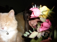 Flower girl with cat